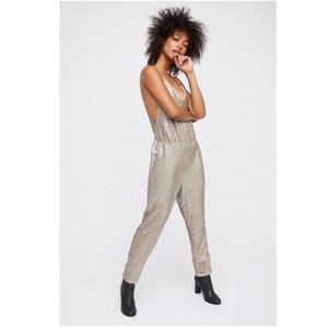 Free People Sequin Strappy Racerback Pantsuit